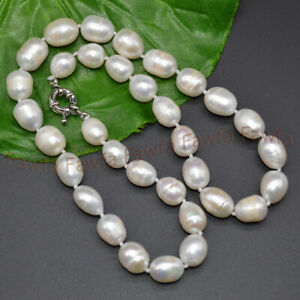 11-12mm White South Sea Natural Freshwater Baroque Rice Pearl Necklace 16-36''