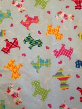 Patterned Scotties on Blue - Cotton Snuggle Flannel Fabric BTY - Puppy Dog