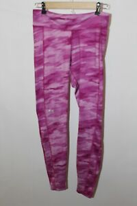 Womens medium under armour leggings pink Camo skinny pants mid weight fitted