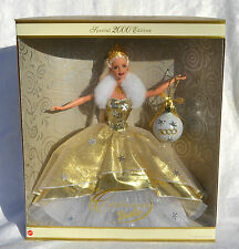 Holiday Celebration 2000 Barbie Doll NRFB blond gold gown Mattel Happy Holidays