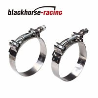 "2PC For 2-1/4'' Hose (2.48""-2.8"") 301 Stainless Steel T Bolt Clamps 63mm-71mm"