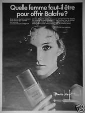 PUBLICITÉ 1970 EAU DE TOILETTE BALAFRE DE LANCÔME POUR HOMME - ADVERTISING