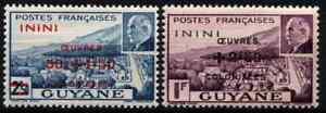 FRENCH GUYANA 1944 - SET MARSHALL PETAIN SURCH / ININI TERRITORY MNH