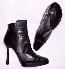 KARL LAGERFELD bottines zippées cuir (chevreau) noir P 39 (8 B) TBE
