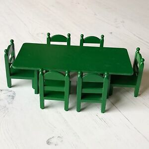 Vintage Sylvanian Families Tomy Green Furniture   Large Dining Table and Chairs