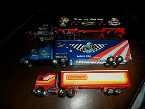 3 LOT 1/87 TRANSPORTER HAULER TRUCKS MAJORETTE CHEETOS MATCHBOX RACING CHAMPIONS
