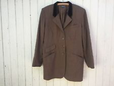 J. PETERMAN wool & velvet riding jacket equestrian tweed suit brown coat size 16