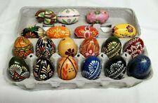 Ukrainian PYSANKI Hand Painted EASTER Wooden Eggs Sett of 19 CHICKEN Size