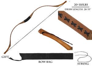 Hungarian Style Handmade Longbow Flagella Recurve Horsebow Archery 20-110LBS