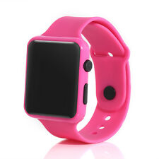 Silicone LED Kid Boy Girl Sport Watch Touch Digital Bracelet Wrist Watches Rose Red