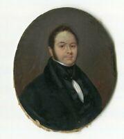Miniature Portrait Painting, Portrait Gentleman, Miniature Antique 1856