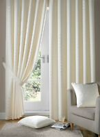 JACQUARD CHECK LINED CREAM PENCIL PLEAT CURTAINS *9 SIZES*
