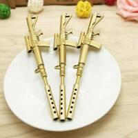 3Pcs Gold Rifle Shape Black Ink Ballpoint Pen Stationery Office Ball Point Pens~