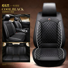 Luxury Leather Car Seat Covers Full Set Front&Rear Seat Back Head Rest Protector