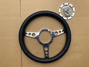 "Traditional Flat Polished 3 Spoke Leather 14"" Steering Wheel Fits Moto Lita Boss"