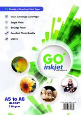 Blank A5 to A6 Glossy Greeting Card Paper for Inkjet Printers 230gsm 10 Sheets