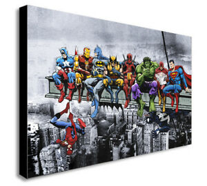 DC MARVEL Super Hero Lunch Atop Skyscrpaer Canvas Framed Wall Art -Various sizes