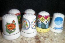 6 Sewing Art Deco Thimble Craft Decorative Ceramic Porcelain Shamrock Bird Star