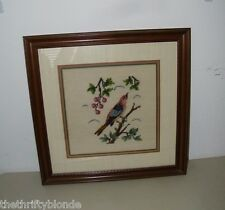 Vintage Framed Needlepoint Finished Bird Chickadee 17276