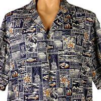 Pacific Legend Hawaiian Aloha Shirt Mens 2XL Turtles Fish Palms Ukulele Drums