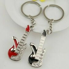 Fashion Mini Guitar Pendant Rhinestone Key Ring Chain Keyring Keychain Newly