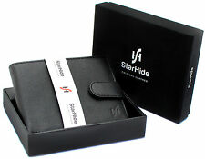 STARHIDE MENS SOFT BLACK REAL LEATHER WALLET WITH ID COIN POCKET GIFT BOXED 1110