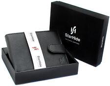 Starhide Uomo Morbido Nero Vera Pelle Wallet con ID MEDAGLIA POCKET CONFEZIONE REGALO 1110