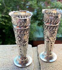 Pair Sterling Silver Vases - Josiah Williams & Co - London - 1900