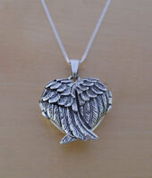 "925 Sterling Silver HEART Locket Guardian Angel Wing Pendant 16, 18 or 20"" Chain"