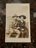 Rppc Soldier In Love Unposted Soldier And Young Lady
