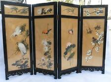 VTG SM Oriental Asian Hand Painted Folding Double Sided Screen 4 Panel Birds Men