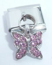 BUTTERFLY PINK GEMS Italian Charm - 9mm fits Classic Starter Bracelets October