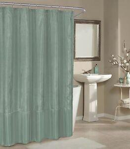 Silver Blue Faux Silk Fabric Shower Curtain: Metallic Raised Pin Dots, Geometric