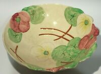 "VINTAGE 1950's AVON WARE ART POTTERY FOOTED SALAD BOWL 10"" LEAF & FLORAL DESIGN"