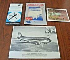UNITED AIRLINES PHOTO DC-3, MENU, HELICOPTER TT, BROCHURE JOHN HIX, 4 Items ORIG