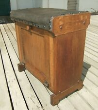 Solid Oak Arts & Crafts Mission Leather Padded Top Footstool/Bench Cabinet