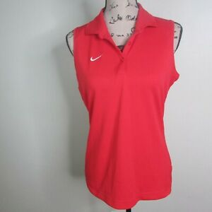 Nike Sleeveless Polo M Red Golf Athletic Fit Dry