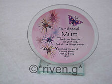 MOTHERS DAY POLISHED Glass Plaque MAMMY PINK FLOWERS@Unique MUM keepsake GIFT
