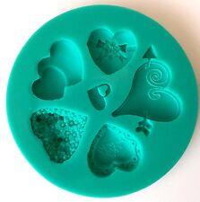 Sugarcraft Molde de Corazón Diamante Joya Corazón Vintage Botones Cup Cake Isomalt