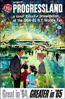 World's Fair New York City 1964 Progressland Vintage Poster Print Tourism Art