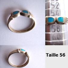 Bague argent anienne turquoise motifs symétrique, la taille 56