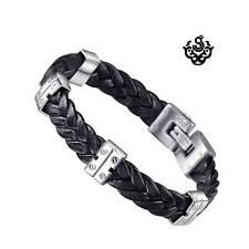 Silver black leather stainless steel handmade bracelet