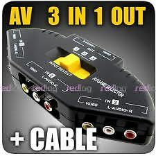 3rca av switcher  three devices to a tv, dth,camera, video game , dvd ,ps2,