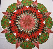"Lone Star~Wreath Quilt Top (Sq White)~PIECED~PATCHWORK 64""X64""-""Christmas Star2"""