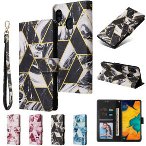 Case For Samsung A20 A30 A10S A20S A20E A40 A70 Marble Flip Leather Wallet Cover