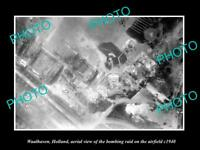 OLD POSTCARD SIZE MILITARY PHOTO WAALHAVEN HOLLAND AERIAL VIEW BOMBING c1940