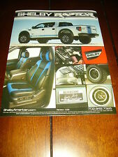 2011  2012  2013  2014 SHELBY RAPTOR ***DOUBLE SIDED SALES SHEET / BROCHURE***