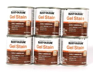 6 Cans Rust-Oleum 8 Oz Gel Stain One Coat 344617 Early American Rich Deep Color