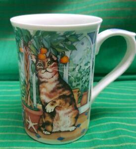 KILN CRAFT ENGLAND VINTAGE BONE CHINA CAT CAPERS TEA COFFEE MUG 2000 PREOWNED