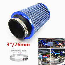 76mm Universal Car Auto Air Intake Filter High Flow Round Cone Cold Cleaner Blue